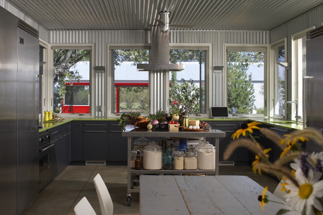 Michigan Farmhouse Industrial Kitchen Chicago By