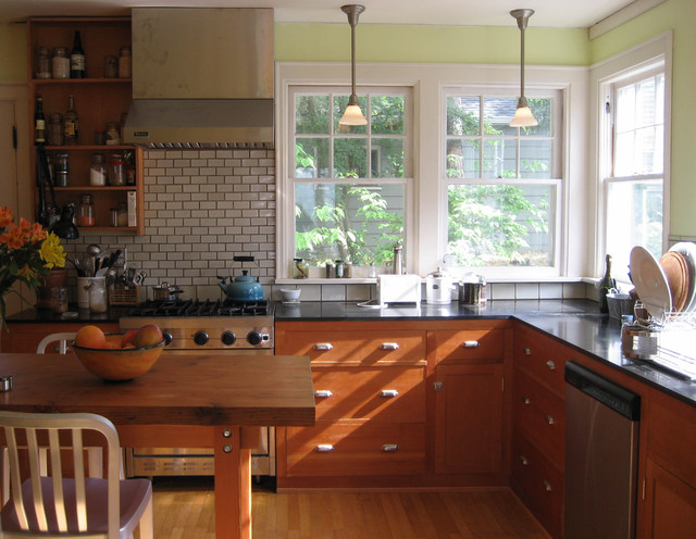 microhouse fremont cottage reclaimed fir cabinets craftsman kitchen seattle by microhouse. Black Bedroom Furniture Sets. Home Design Ideas