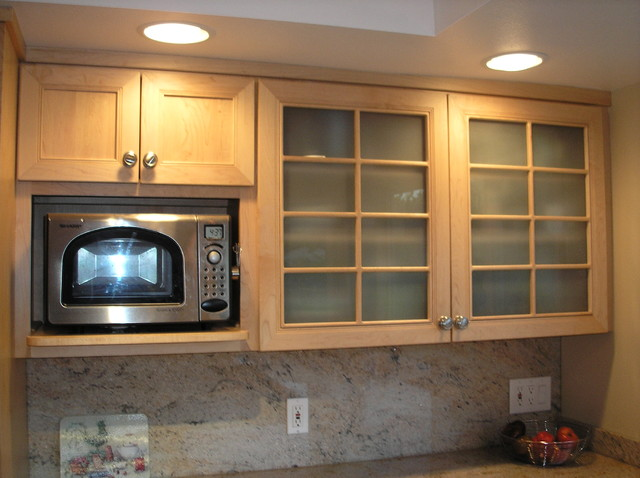 Microwave & Glass Door Cabinets traditional-kitchen