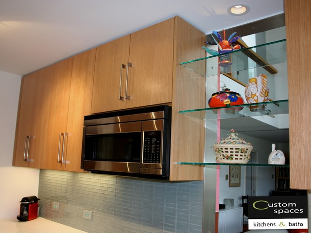 Microwave Cabinet White Oak Cabinetry Modern Kitchen Ideas