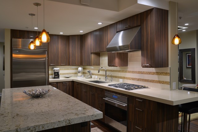 Mid century meets modern technology midcentury kitchen for Mid century modern kitchen lighting
