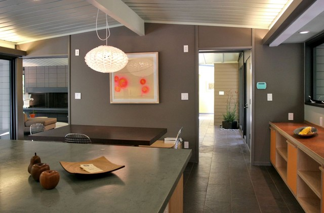 Example of a trendy kitchen design in San Francisco with concrete countertops