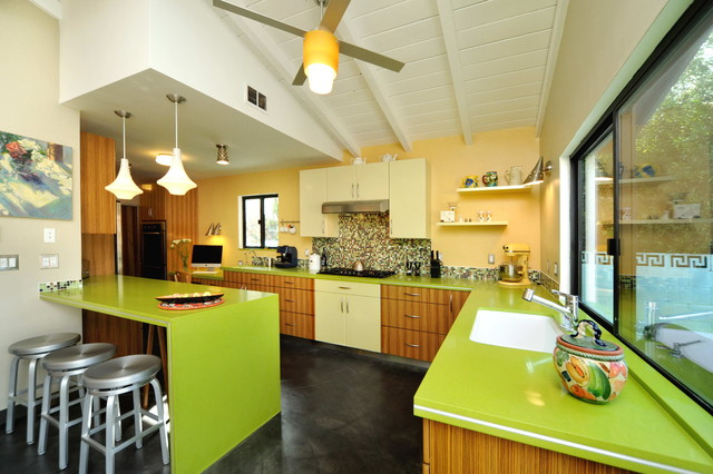 Mid century modern kitchen dining contemporary kitchen for Modern green kitchen designs