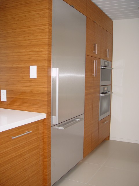 Mid century modern kitchen fridge pantry ovens kpkm for Modern kitchen pantry