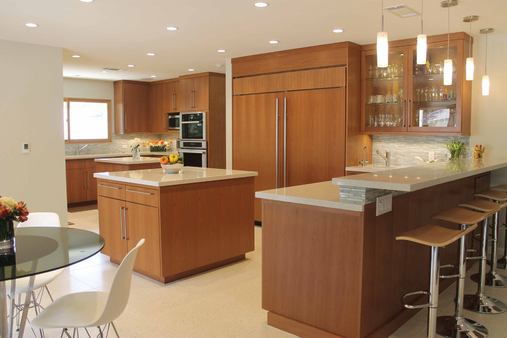 Mid Century Modern Kitchen With Maple Cabinets Midcentury Kitchen Los Angeles By Sierra Custom Kitchens Inc
