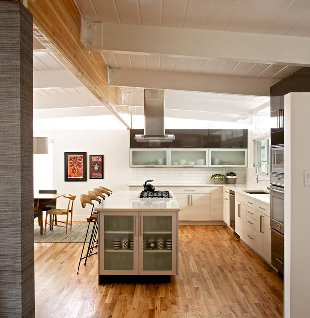 Mid century modern residence modern kitchen for Century style kitchen cabinets