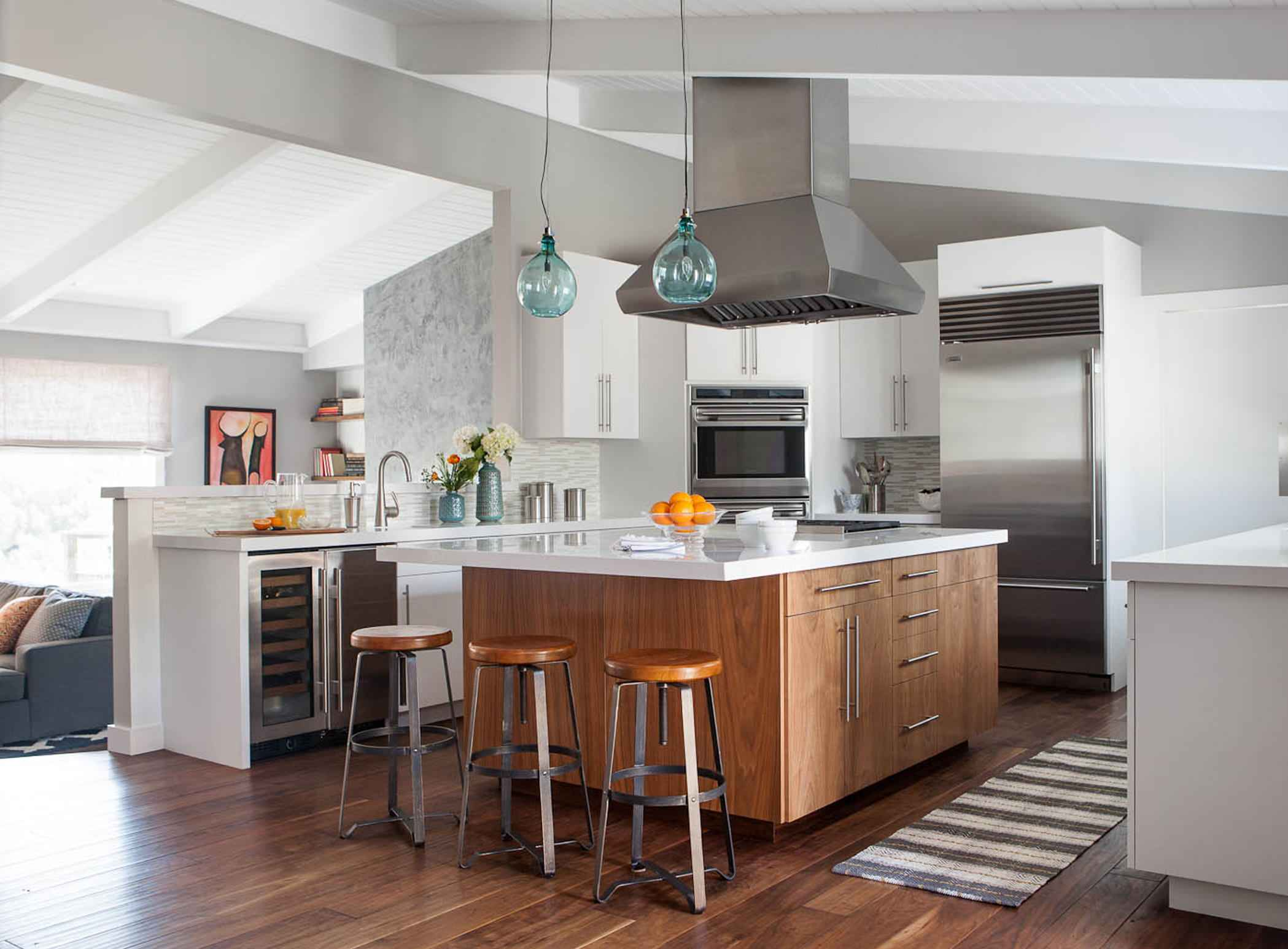 White Kitchen Wood Island | Houzz