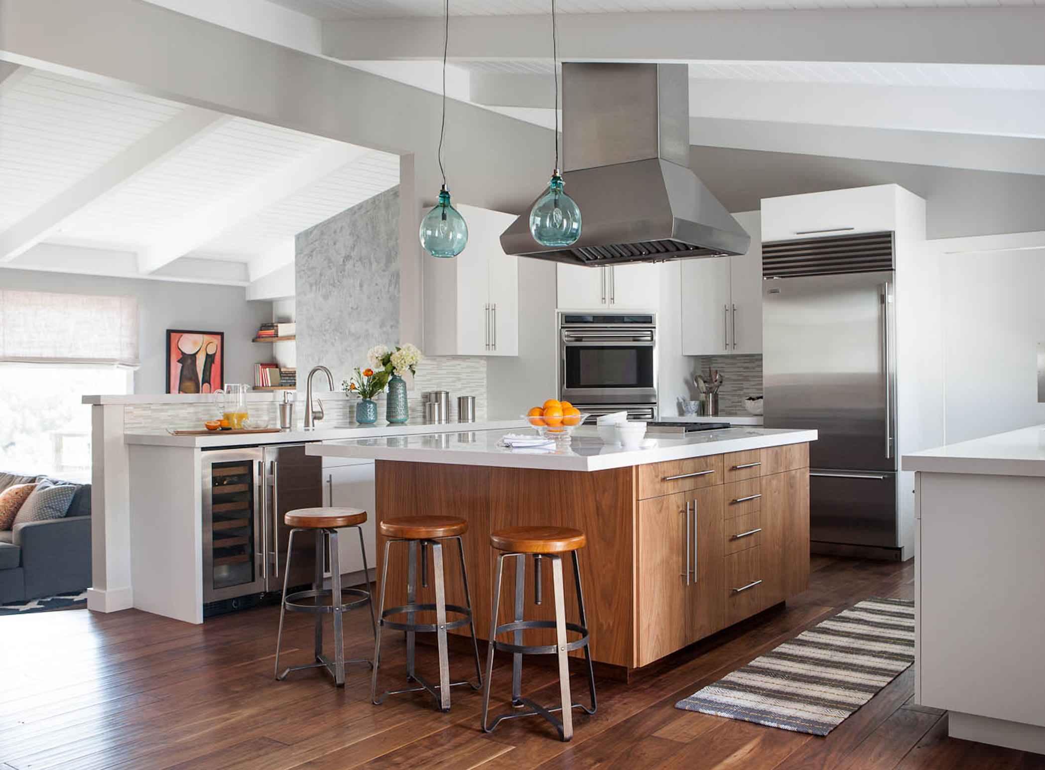 White Kitchen Wood Island | Houzz
