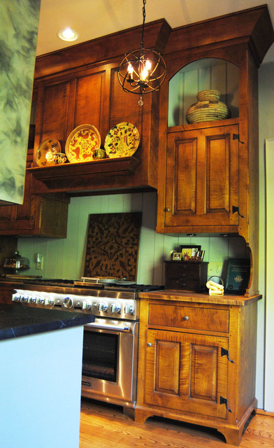 Mid Ohio Farm House - Collected Style Painted and Curly Maple Kitchen farmhouse-kitchen