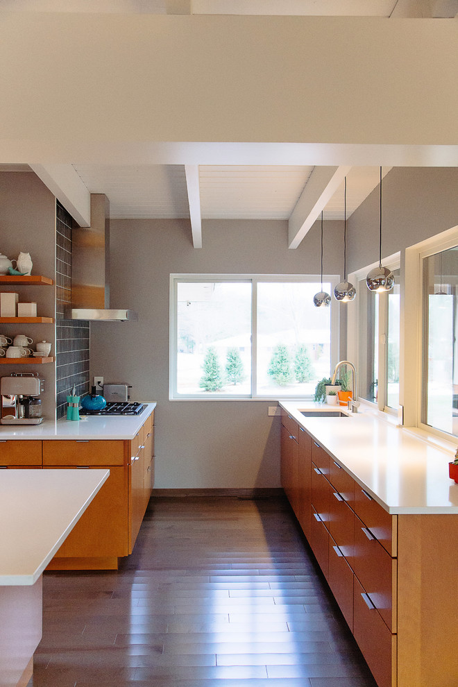 Mid-sized mid-century modern kitchen photo in Grand Rapids
