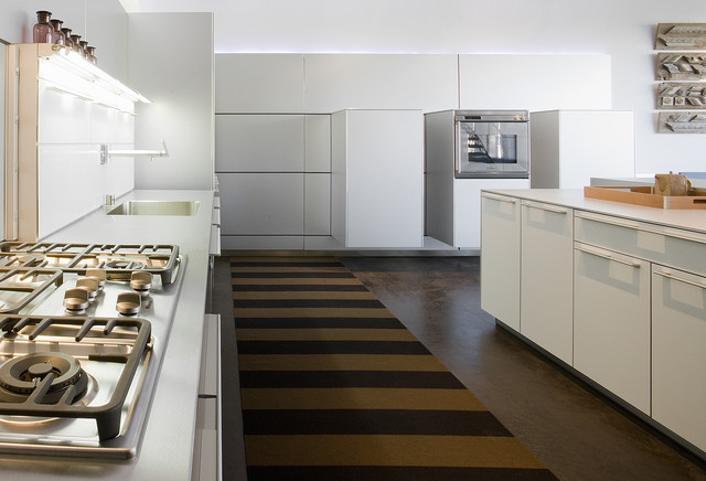 Trendy kitchen photo in Seattle with flat-panel cabinets