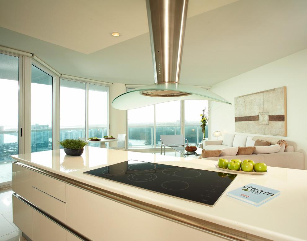 Minimalist Condo Great Room Open Kitchen Layout Rem Modern Kitchen Miami By Korn Interior Design Inc