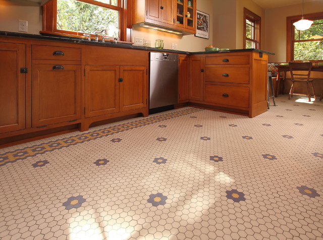 Minneapolis bungalow arts crafts kitchen for Arts and crafts floor tile