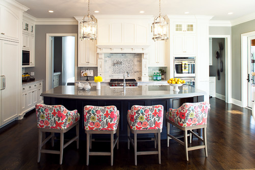 Modern Traditional Style Kitchen with Floral Upholstery on Bar Stools Near Kitchen Island