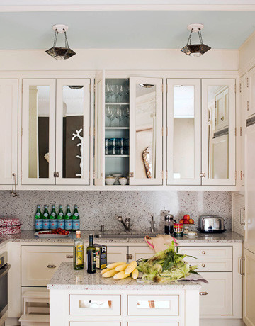 Mirrored Cabinet Doors - Ideas to Update the Kitchen - House Beautiful traditional kitchen