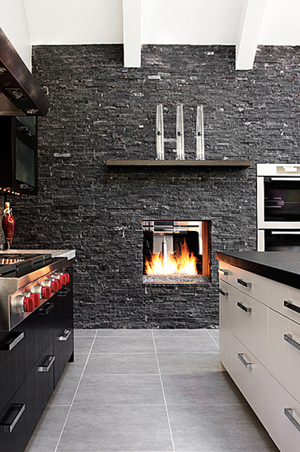 Mission hills modern fireplace modern kitchen kansas city by mission hills modern fireplace modern kitchen teraionfo