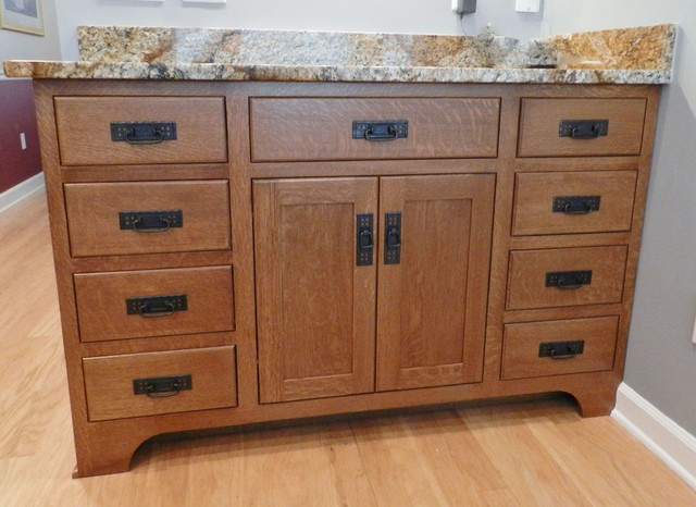 Mission style kitchen craftsman kitchen jacksonville for Tansu bathroom vanity