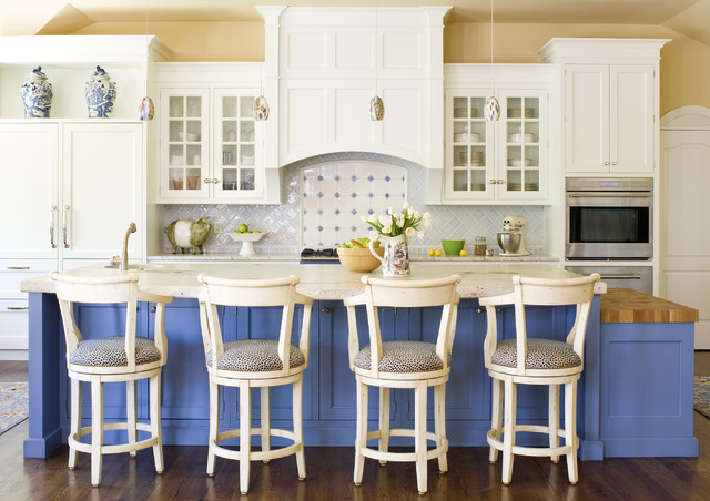 Traditional Kitchen Idea In Denver With Recessed Panel Cabinets And Blue