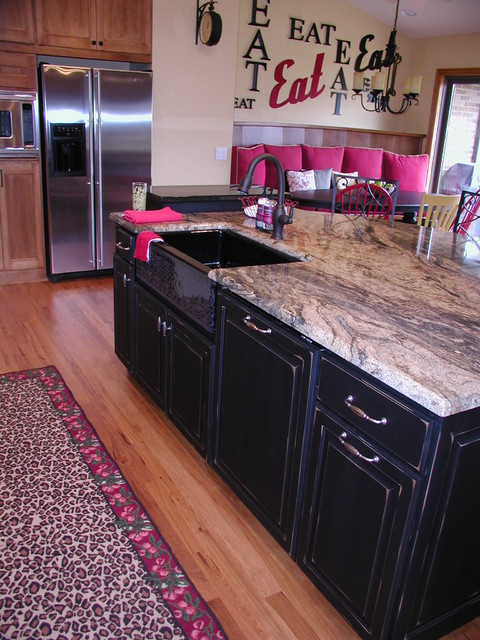 Mixed Paint and Maple eclectic-kitchen