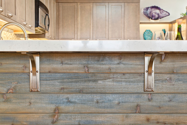 MIXING TAUPE WITH RUSTIC ELEMENTS FOR A MODERN COASTAL KITCHEN REMODEL Beach Style Kitchen