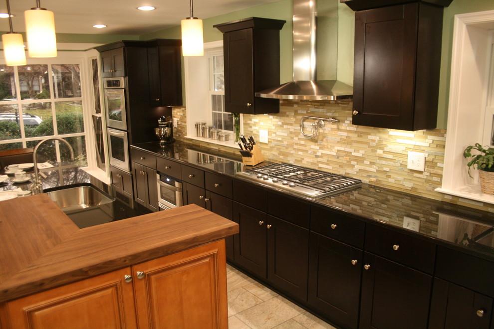 Mocha Shaker Two Toned Kitchen Modern, Mocha Kitchen Cabinets With Granite