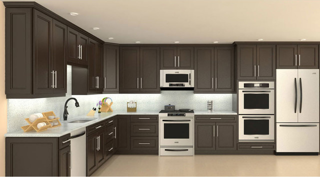 Model 4d chocolate maple recessed panel kitchen cabinets for Model kitchen