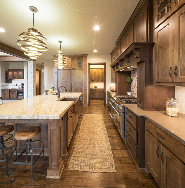 Model home starr homes llc rustic kitchen kansas for Model home kitchens
