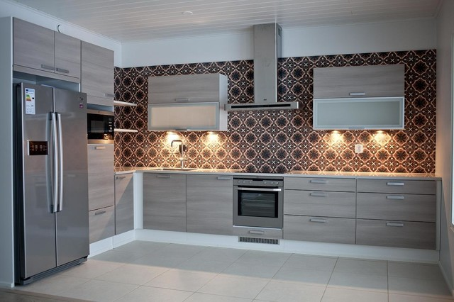 Modern And Retro Tile Designs Contemporary Kitchen