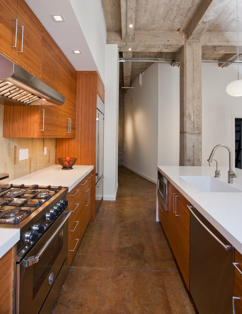 Modern Bamboo Kitchen In Eclectic Oakland Loft Aisle