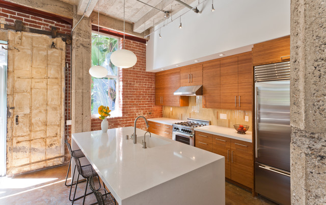 Modern Bamboo Kitchen in Eclectic Oakland Loft (perspective) - Contemporary - Kitchen - san ...