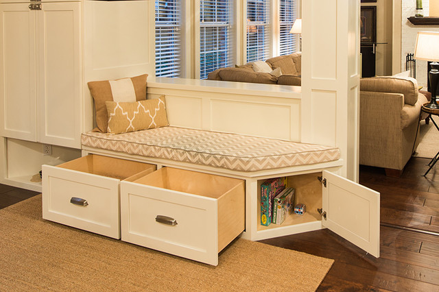 Modern bench seat with drawers transitional kitchen austin by