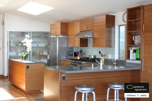 Modern Carbonized Bamboo Kitchen With Quartz Countertops Modern Kitchen San Francisco By