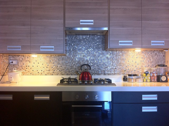 Modern classic kitchen with mosaic tiles modern kitchen other metro - Modern tile kitchen design ...