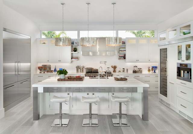 Modern Coastal Home Beach Style Kitchen Miami By MHK - Grey wood floor white kitchen