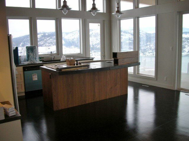 Modern Concrete Kitchen Countertops with Black Stained Concrete Floor - Contemporary - Kitchen ...