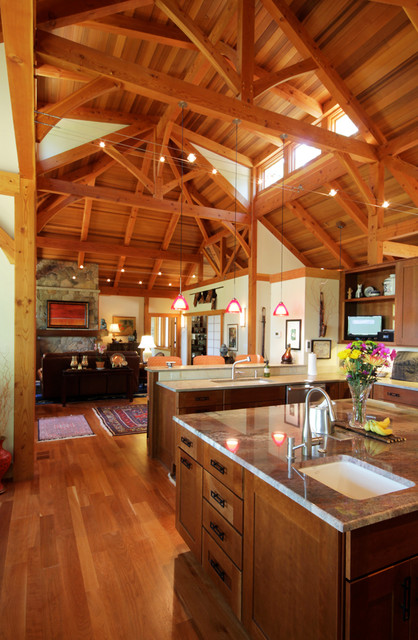 Modern contemporary post and beam home contemporary for Interior pictures of post and beam homes