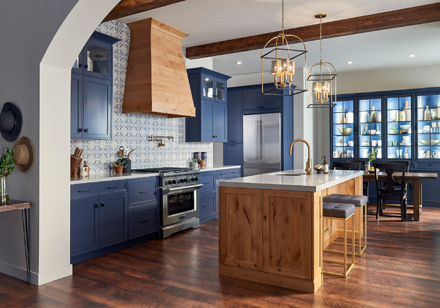 Modern Contemporary Spanish Kitchen In Blue And Rustic