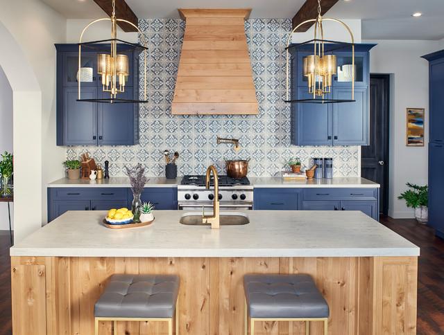 Modern Contemporary Spanish Kitchen In Blue And Rustic Alder Mediterranean Kitchen San Diego By Ultracraft Cabinetry Houzz