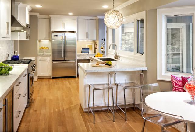 Modern Contemporary White U0026 Carrara Marble Kitchen Contemporary Kitchen