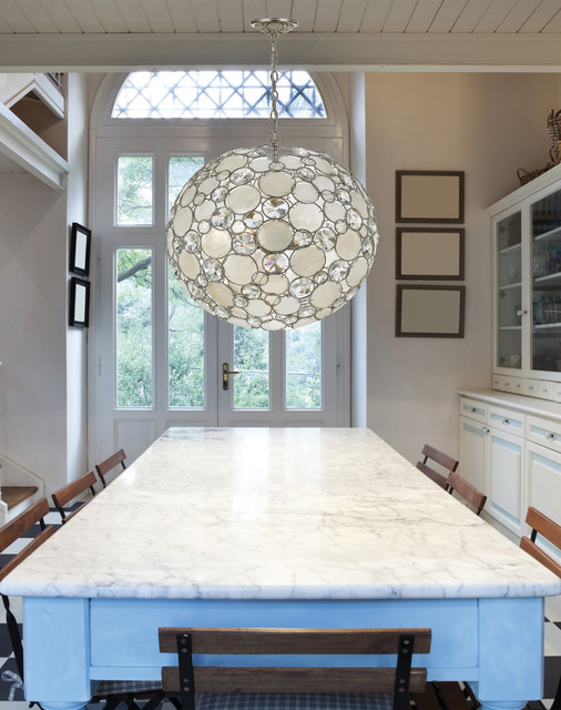 Modern Crystal And Capiz Shell Round Pendant Chandelier