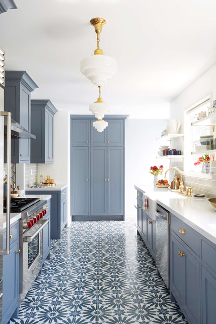 Example Of A Transitional Galley Multicolored Floor Kitchen Design In San Francisco With Farmhouse Sink