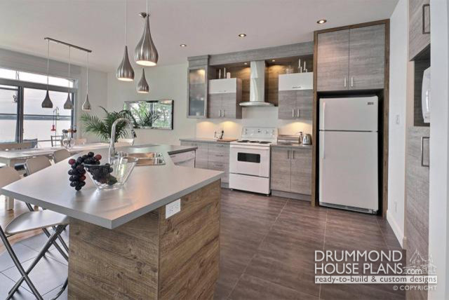 modern duplex builder cutsom home design by drummond house plans scandinavian kitchen