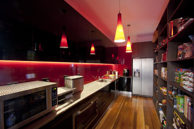 Modern contemporary kitchen brisbane by enigma for Red and brown kitchen ideas
