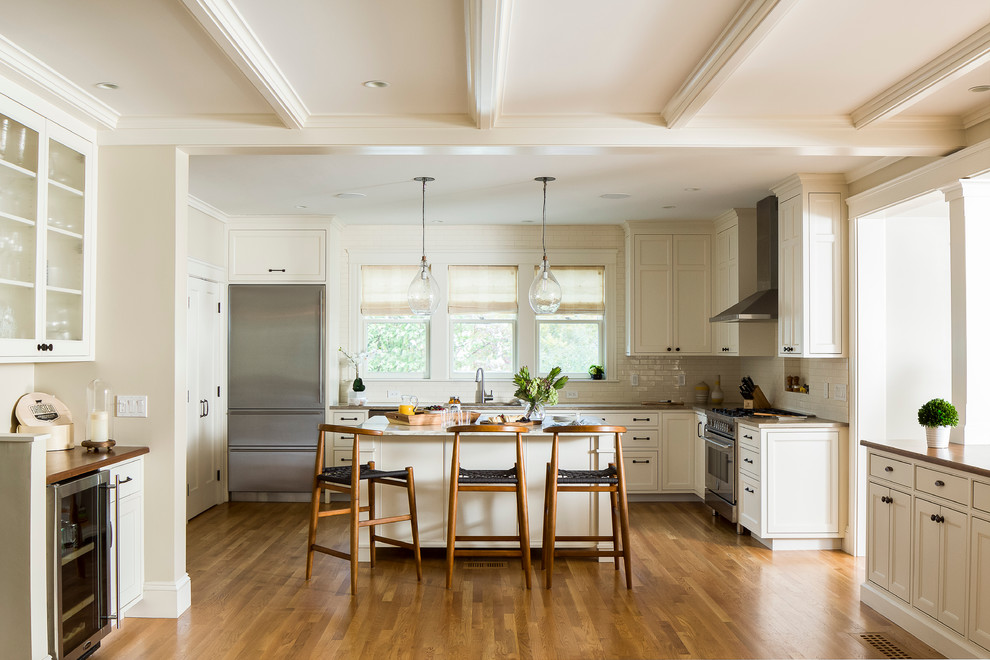 Example of a transitional kitchen design in Providence