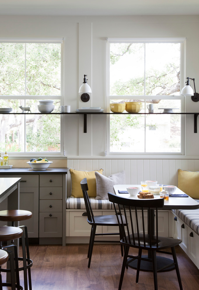 Eat-in kitchen - cottage eat-in kitchen idea in Austin with recessed-panel cabinets and gray cabinets