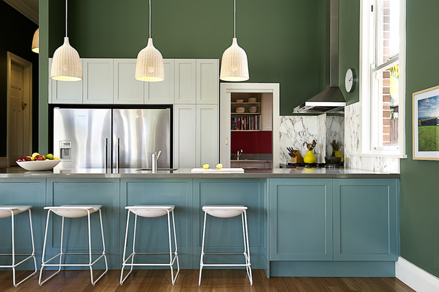 kitchen designs and colours schemes. Transitional open concept kitchen inspiration  Example of a transitional u shaped dark wood floor Cream And Olive Green Colour Scheme Kitchen Ideas Photos Houzz