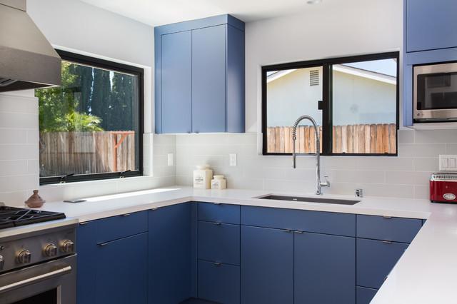 Flat Blue Cabinets In Granada Hills