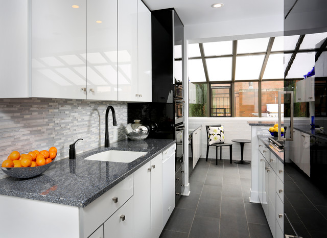 Modern galley kitchen design contemporary kitchen chicago by normandy remodeling Modern kitchen design ideas houzz