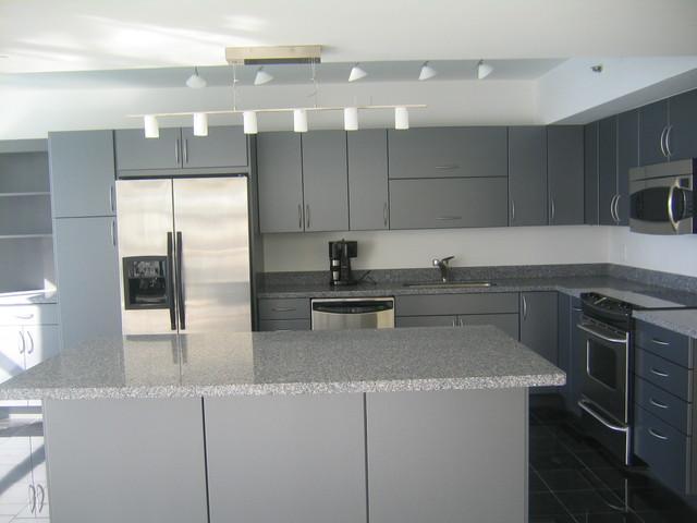 Modern grey cabinets - Modern - Kitchen - Miami - by ...