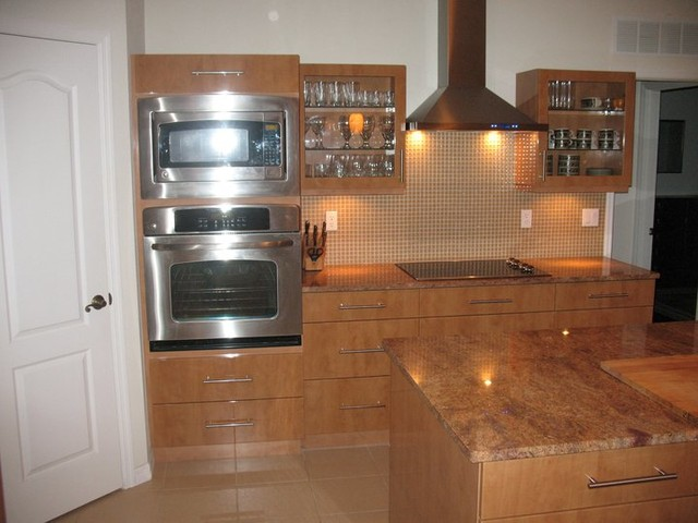 Modern High gloss cabinets wood tone contemporary-kitchen